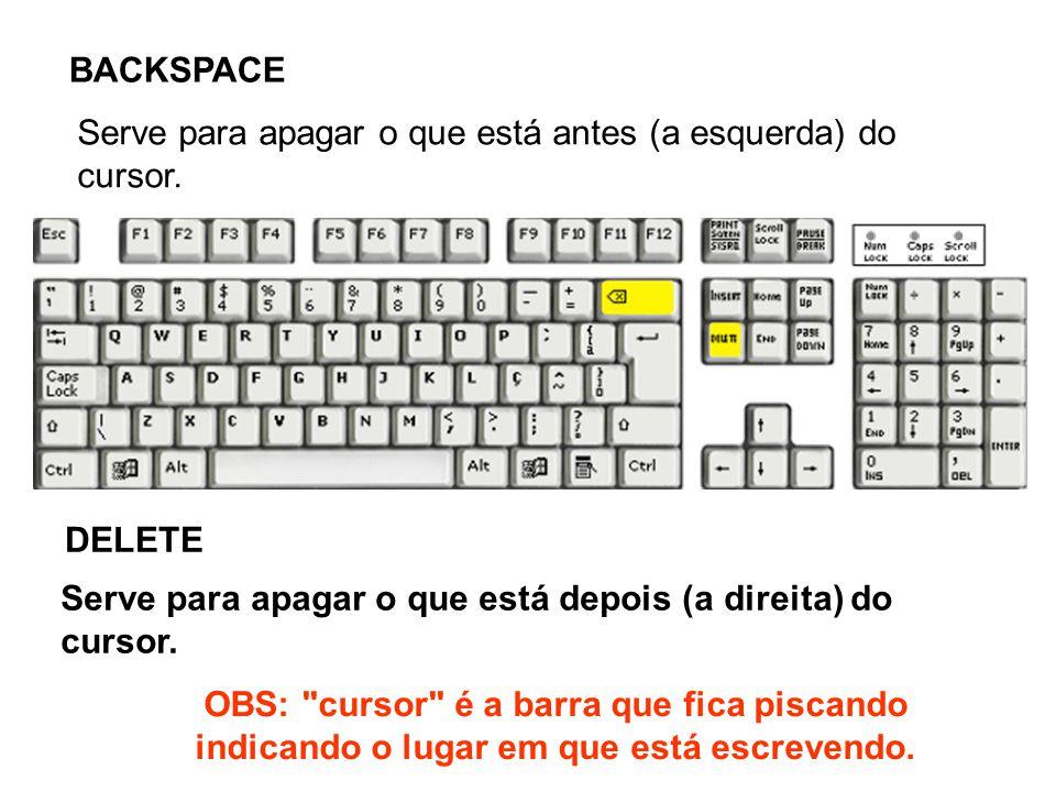 BACKSPACE DELETE Serve para apagar o que está depois (a direita) do cursor. Serve para apagar o que está antes (a esquerda) do cursor. OBS:
