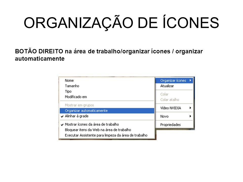 ORGANIZAÇÃO DE ÍCONES BOTÃO DIREITO na área de trabalho/organizar ícones / organizar automaticamente