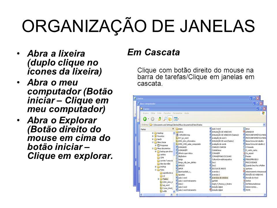 ORGANIZAÇÃO DE JANELAS Abra a lixeira (duplo clique no ícones da lixeira) Abra o meu computador (Botão iniciar – Clique em meu computador) Abra o Explorar (Botão direito do mouse em cima do botão iniciar – Clique em explorar.