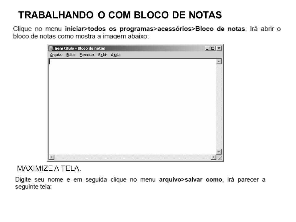 TRABALHANDO O COM BLOCO DE NOTAS MAXIMIZE A TELA.