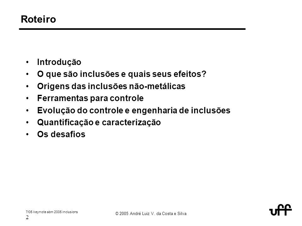 7/05 keynote abm 2005 inclusions 2 © 2005 André Luiz V. da Costa e Silva Roteiro Introdução O que são inclusões e quais seus efeitos? Origens das incl