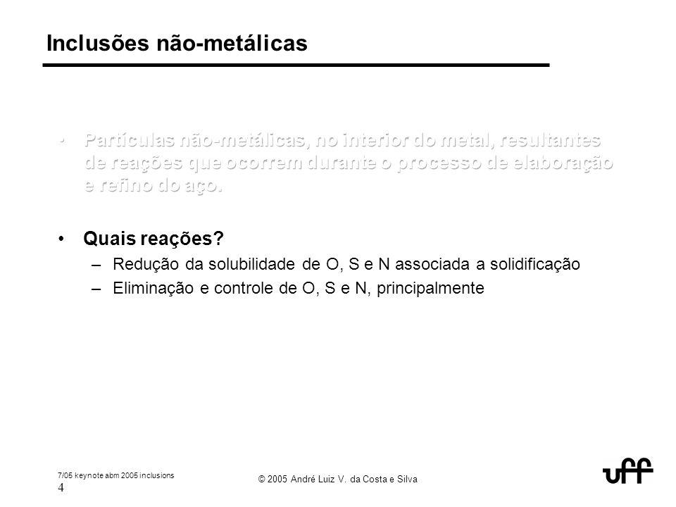 7/05 keynote abm 2005 inclusions 4 © 2005 André Luiz V. da Costa e Silva Inclusões não-metálicas