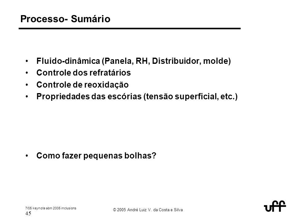 7/05 keynote abm 2005 inclusions 45 © 2005 André Luiz V. da Costa e Silva Processo- Sumário Fluido-dinâmica (Panela, RH, Distribuidor, molde) Controle