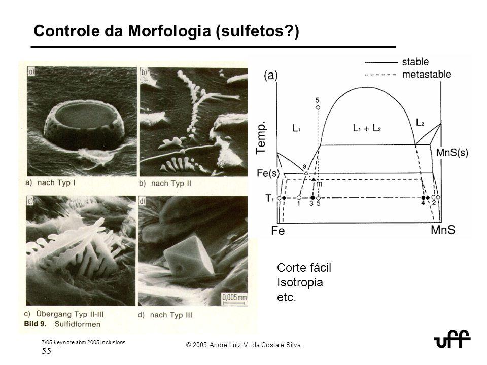 7/05 keynote abm 2005 inclusions 55 © 2005 André Luiz V. da Costa e Silva Controle da Morfologia (sulfetos?) Corte fácil Isotropia etc.