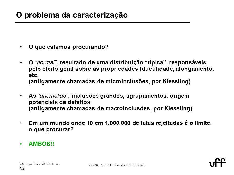 """7/05 keynote abm 2005 inclusions 62 © 2005 André Luiz V. da Costa e Silva O problema da caracterização O que estamos procurando? O """"normal"""", resultado"""
