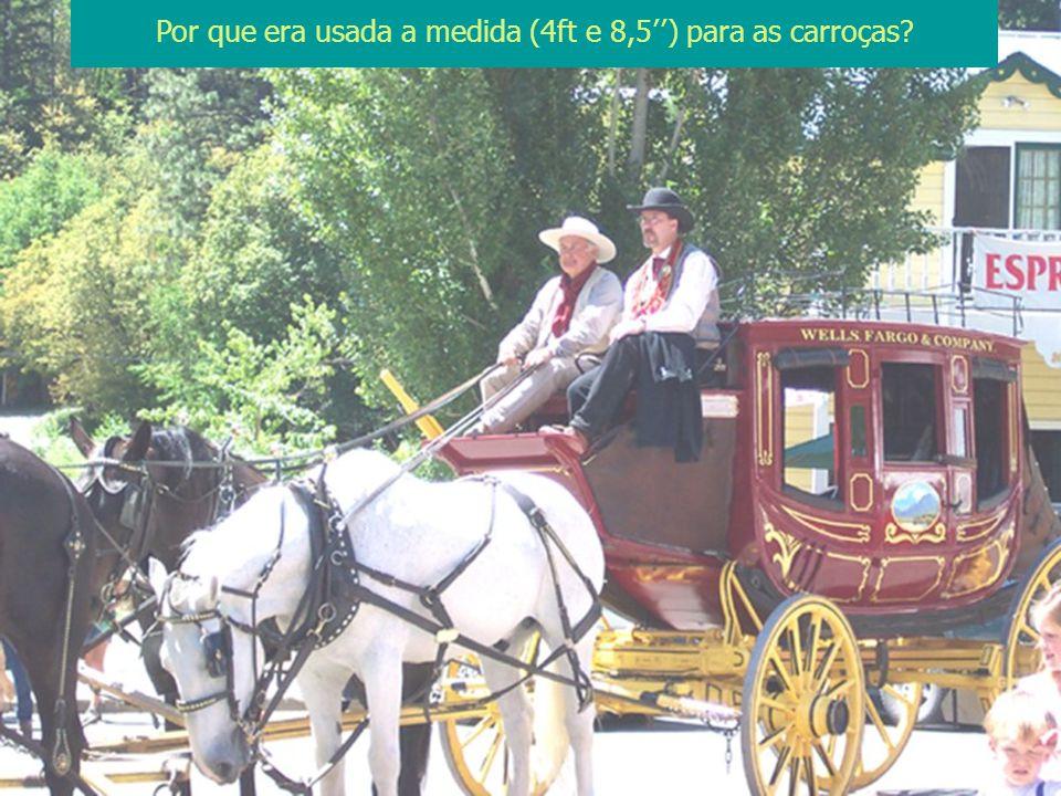 Porque a distância entre as rodas das carroças deveria caber nas estradas antigas da Europa, que tinham esta medida.