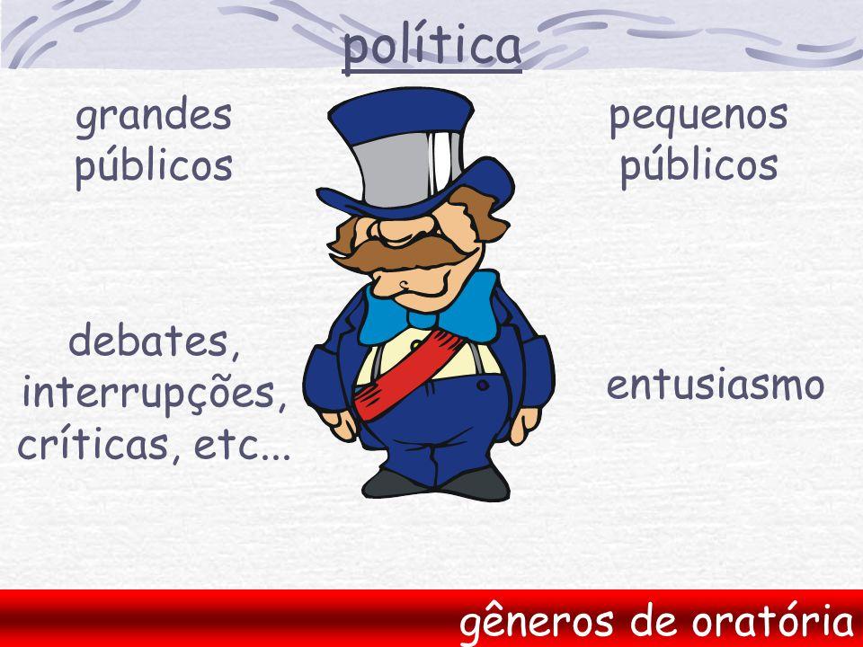 política gêneros de oratória grandes públicos pequenos públicos entusiasmo debates, interrupções, críticas, etc...