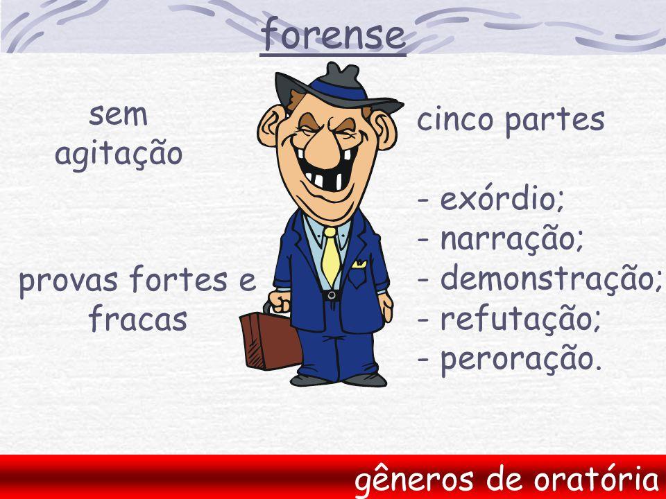 forense gêneros de oratória sem agitação cinco partes - exórdio; - narração; - demonstração; - refutação; - peroração.