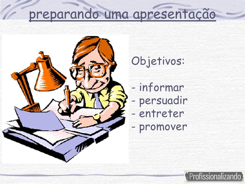 preparando uma apresentação Objetivos: - informar - persuadir - entreter - promover