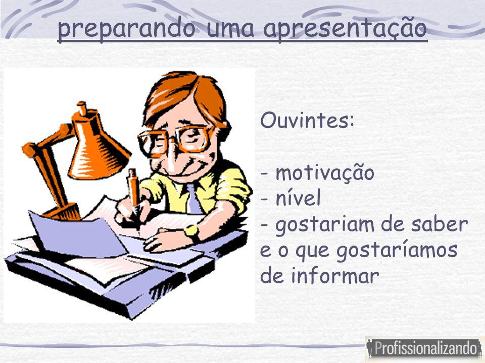 preparando uma apresentação Ouvintes: - motivação - nível - gostariam de saber e o que gostaríamos de informar