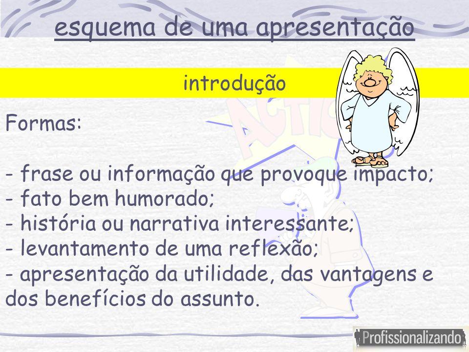 esquema de uma apresentação introdução Formas: - frase ou informação que provoque impacto; - fato bem humorado; - história ou narrativa interessante;