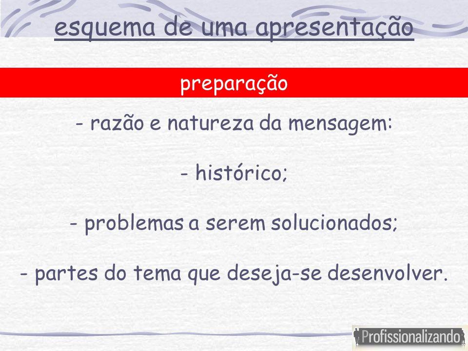 esquema de uma apresentação preparação - razão e natureza da mensagem: - histórico; - problemas a serem solucionados; - partes do tema que deseja-se desenvolver.