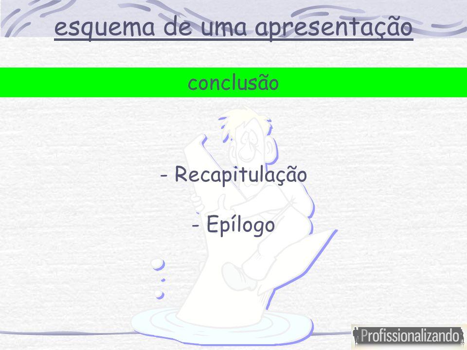 - Recapitulação - Epílogo conclusão esquema de uma apresentação