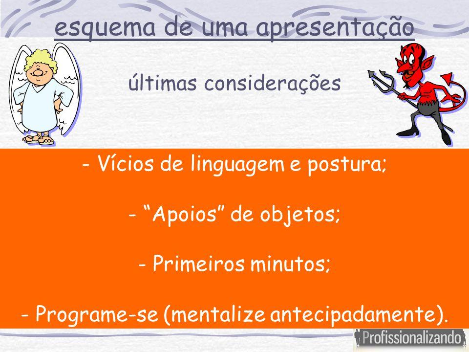 """- Vícios de linguagem e postura; - """"Apoios"""" de objetos; - Primeiros minutos; - Programe-se (mentalize antecipadamente). últimas considerações esquema"""