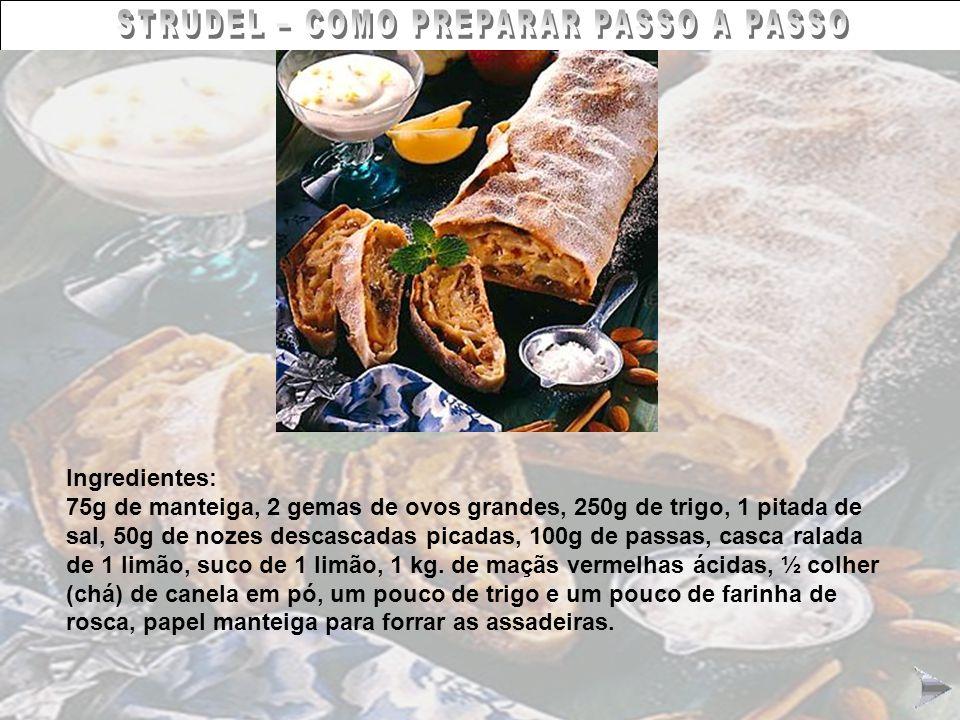 STRUDEL – COMO PREPARAR PASSO A PASSO Ingredientes: 75g de manteiga, 2 gemas de ovos grandes, 250g de trigo, 1 pitada de sal, 50g de nozes descascadas