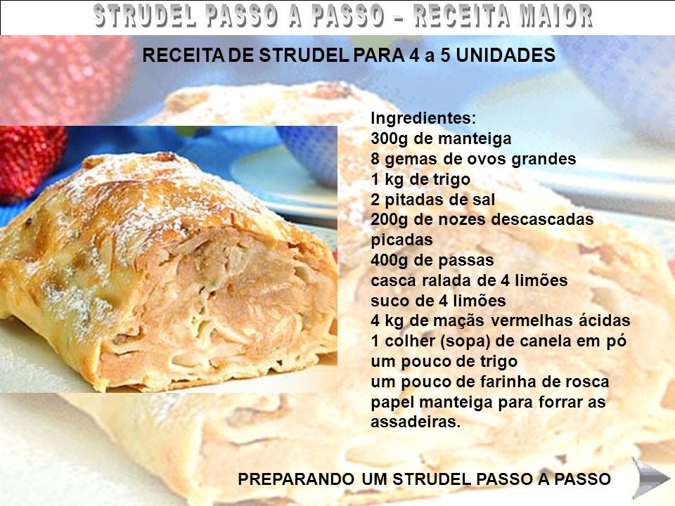 STRUDEL PASSO A PASSO – RECEITA MAIOR RECEITA DE STRUDEL PARA 4 a 5 UNIDADES Ingredientes: 300g de manteiga 8 gemas de ovos grandes 1 kg de trigo 2 pi