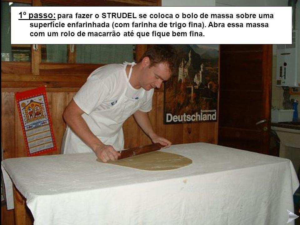 STRUDEL1 1º passo: para fazer o STRUDEL se coloca o bolo de massa sobre uma superfície enfarinhada (com farinha de trigo fina). Abra essa massa com um
