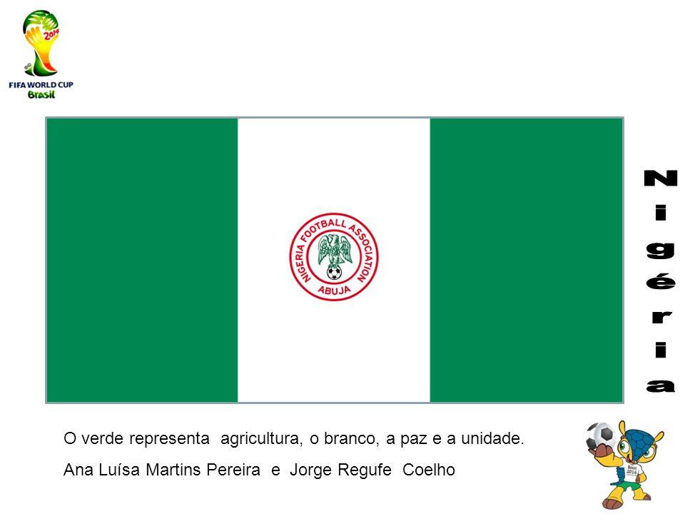 O verde representa agricultura, o branco, a paz e a unidade. Ana Luísa Martins Pereira e Jorge Regufe Coelho