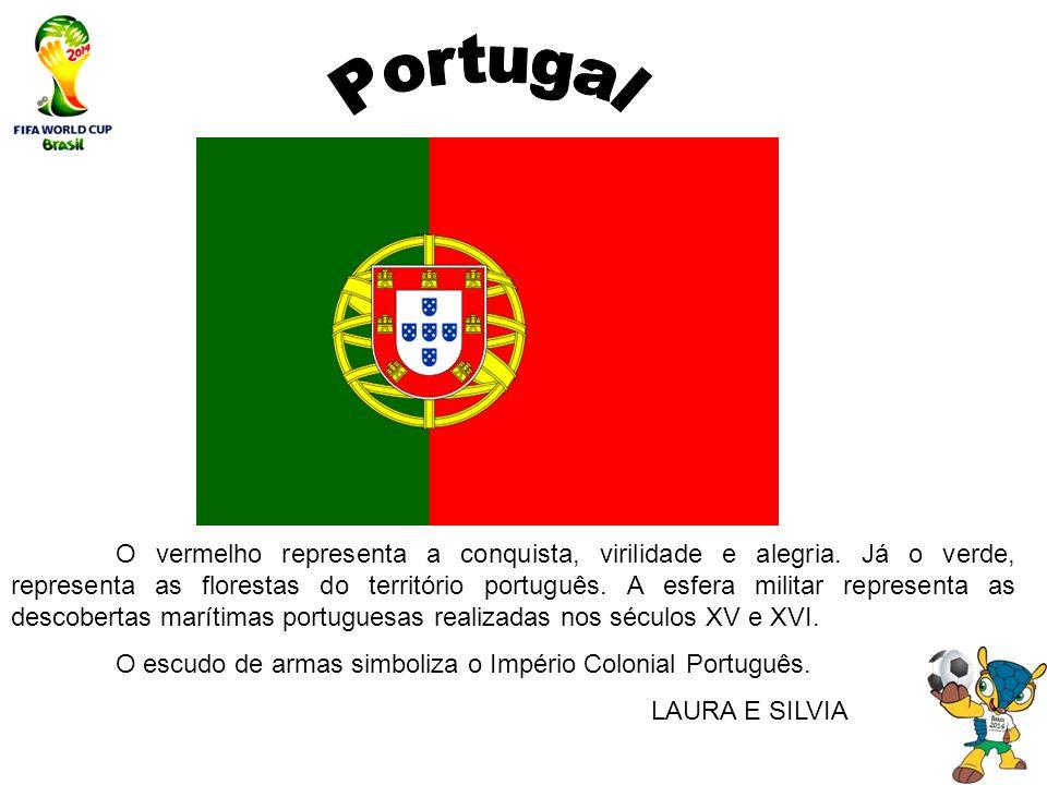 O vermelho representa a conquista, virilidade e alegria. Já o verde, representa as florestas do território português. A esfera militar representa as d