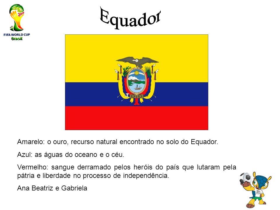 Amarelo: o ouro, recurso natural encontrado no solo do Equador. Azul: as águas do oceano e o céu. Vermelho: sangue derramado pelos heróis do país que