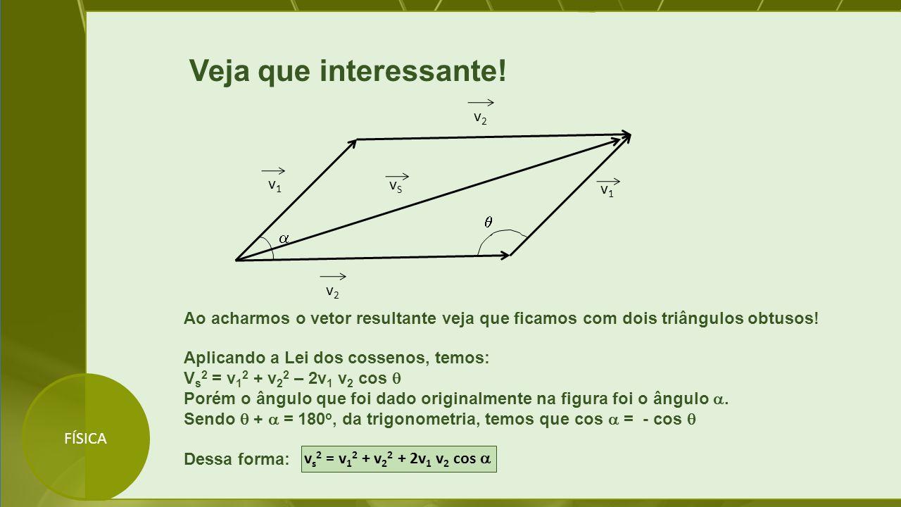 FÍSICA Veja que interessante! v1v1 v2v2 v1v1 v2v2 vSvS   Aplicando a Lei dos cossenos, temos: V s 2 = v 1 2 + v 2 2 – 2v 1 v 2 cos  Porém o ângulo