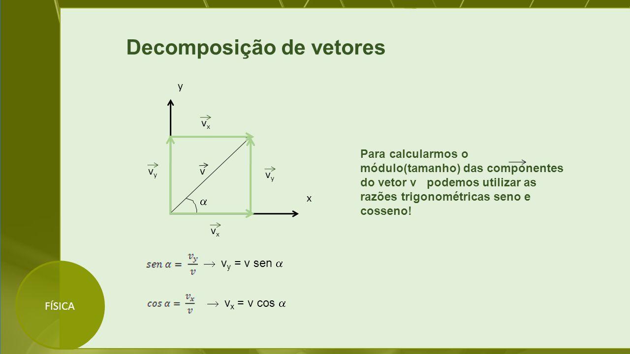 FÍSICA Decomposição de vetores  v x y Para calcularmos o módulo(tamanho) das componentes do vetor v podemos utilizar as razões trigonométricas seno e