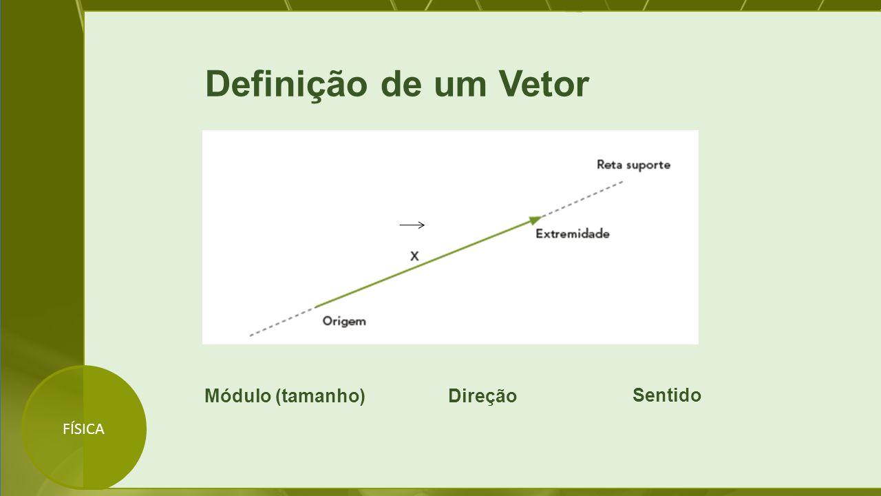 FÍSICA Definição de um Vetor Módulo (tamanho)Direção Sentido
