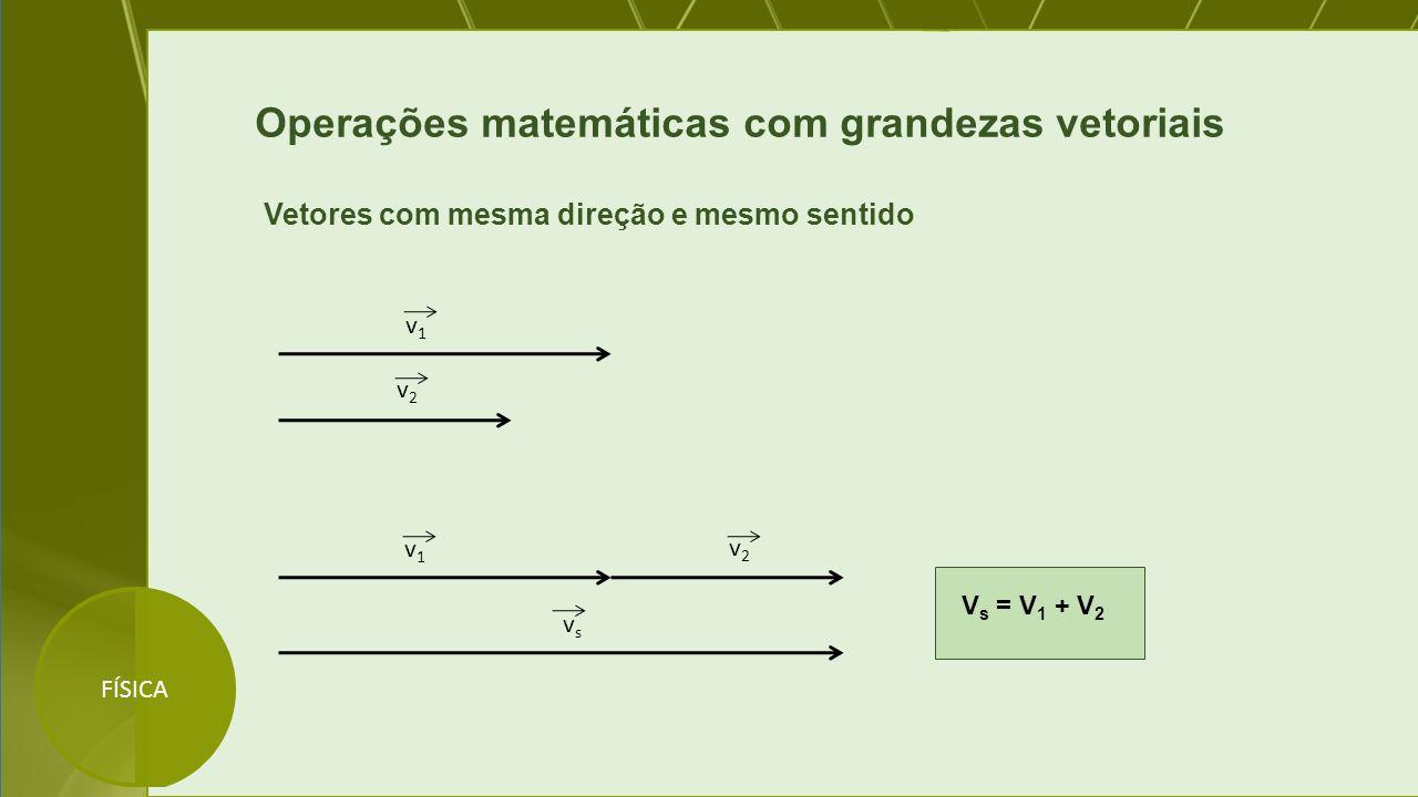 Operações matemáticas com grandezas vetoriais Vetores com mesma direção e mesmo sentido v1v1 v2v2 v1v1 v2v2 vsvs V s = V 1 + V 2