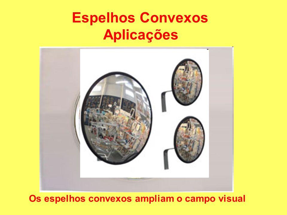 Espelhos Convexos Aplicações Os espelhos convexos ampliam o campo visual