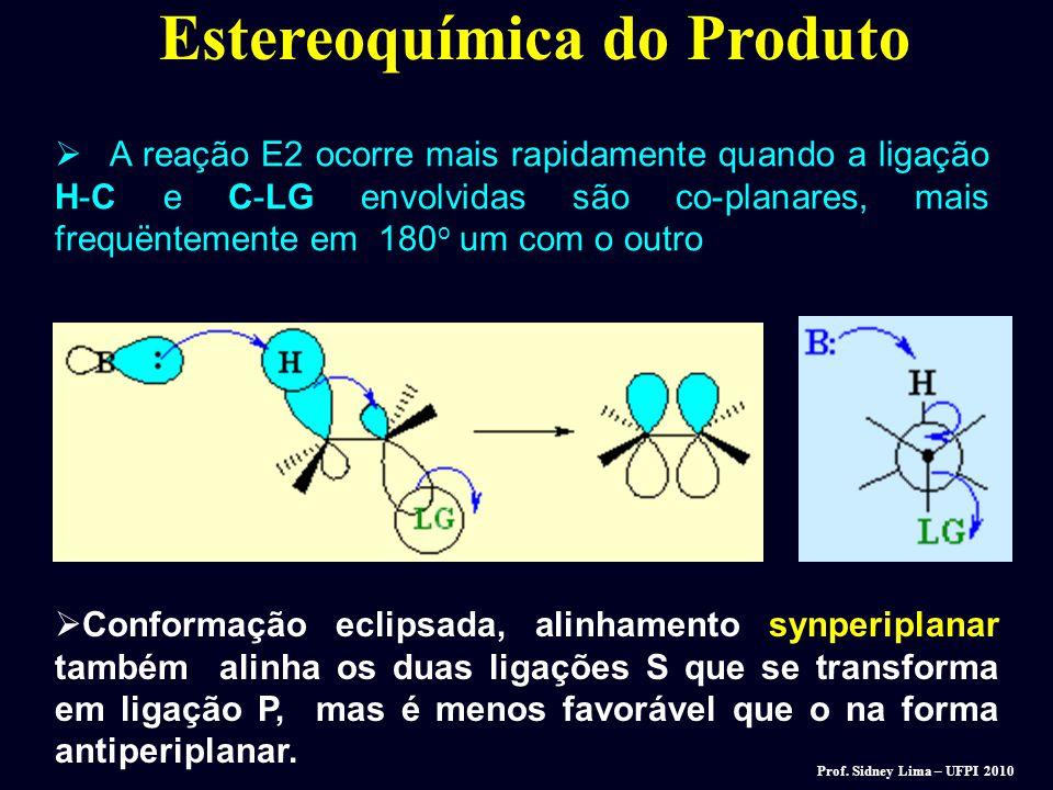 Estereoquímica dos Reagentes. Reação E2: Eliminação anti. O átomo de H e halogênio devem está a 180 o (coplanares) em relação um ao outro. Desenhe uma