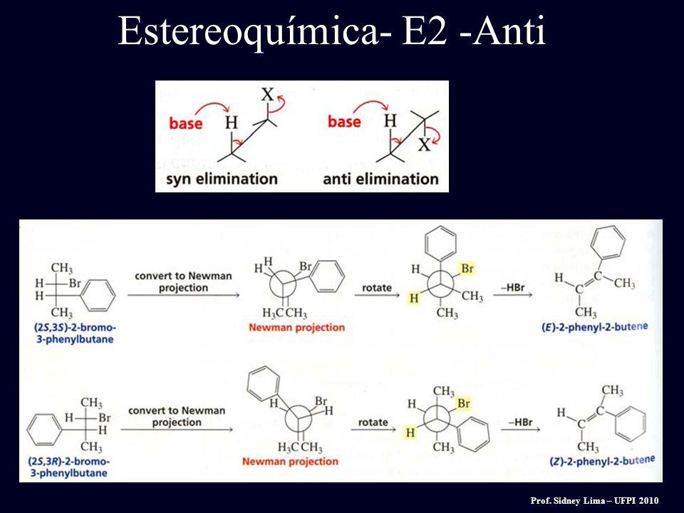 A reação E2 ocorre mais rapidamente quando a ligação H-C e C-LG envolvidas são co-planares, mais frequëntemente em 180 o um com o outro Estereoquími