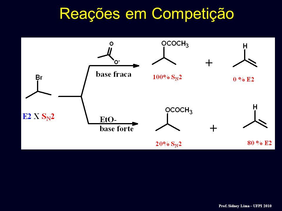 Reações em Competição Reações S N 2 compete com reações de elimination (E2). Ambas reações segue uma cinética de segunda ordem!