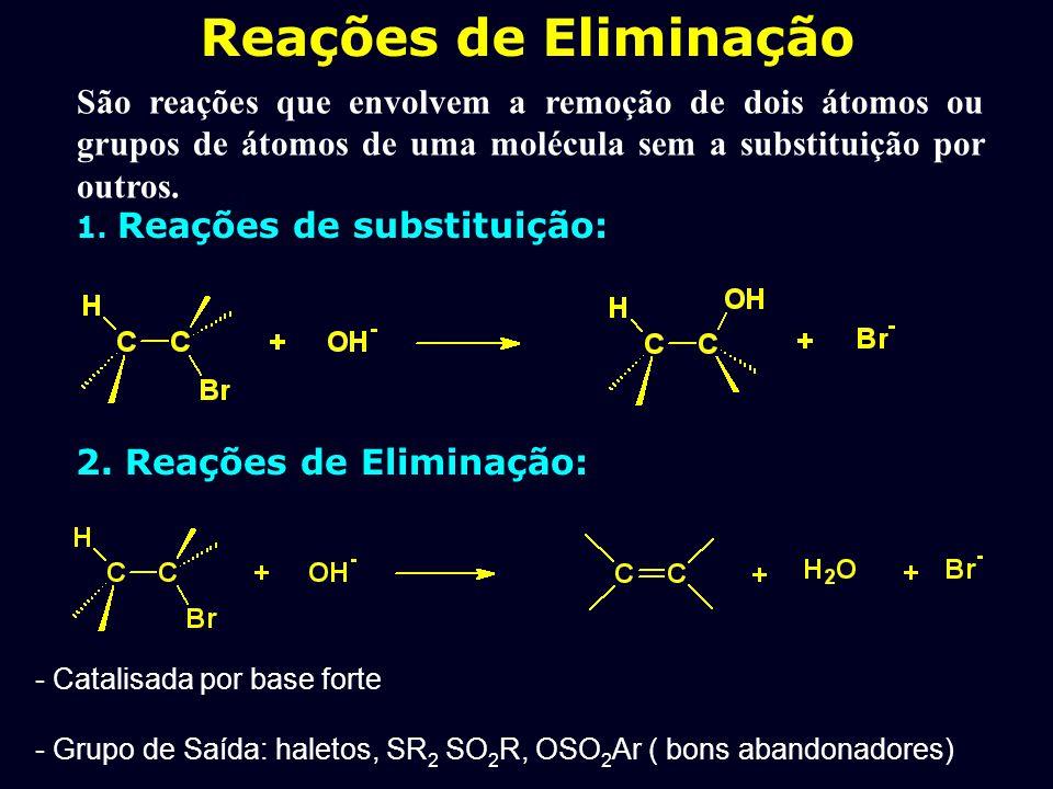 1. Introdução: Compostos Halogenados 1. Mecanismo. 2. Cinética. 3. Efeito de isótopo. 4. Estereoquímica dos Reagentes. 5. Orientação da Eliminação (Za