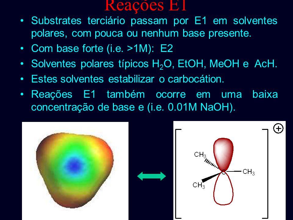 Reações E1 Em condições neutra, onde um solvente polar ajuda a estabilizar o intermediário carbocátion. Este solvente também age como uma base fraca e