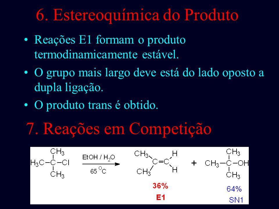4.Estereoquímica E1 Não requer orientação antiperiplanar de H e X. Diastereoisômeros dão os mesmo produtos com E1, cis- e trans. Lembre-se, em E2 usua