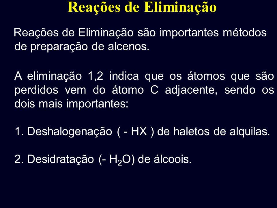 Reações de Eliminação 1. Reações de substituição: 2. Reações de Eliminação: São reações que envolvem a remoção de dois átomos ou grupos de átomos de u