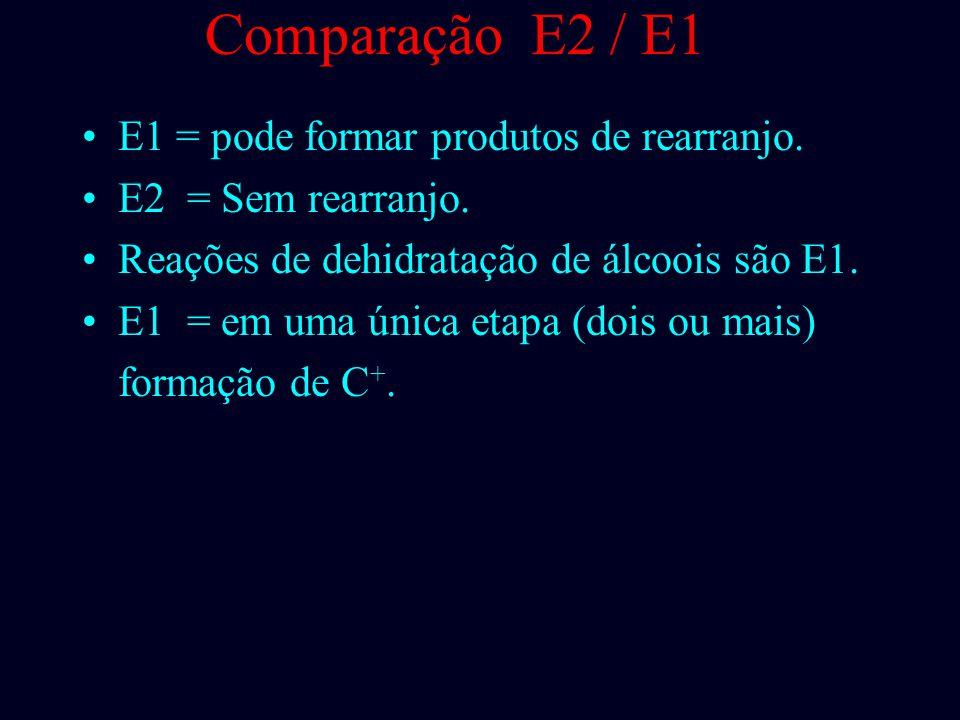 Comparação E2 / E1 E1 = condições neutra com solvente; E1 = ocorre também com base forte, mas em baixa concentração: 0.01 a 0.1 M; E2 = base forte em