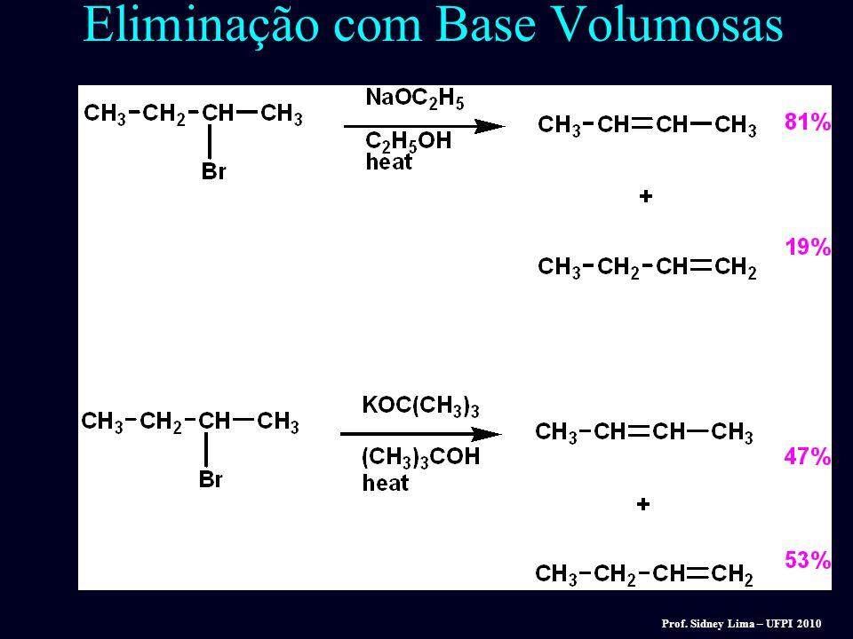 Eliminação com Base Volumosas Bases não volumosas, tal como OH -, EtO -, dão produtos de Zaitsev. Bases volumosas, tal como terc-butoxi, dão quantidad