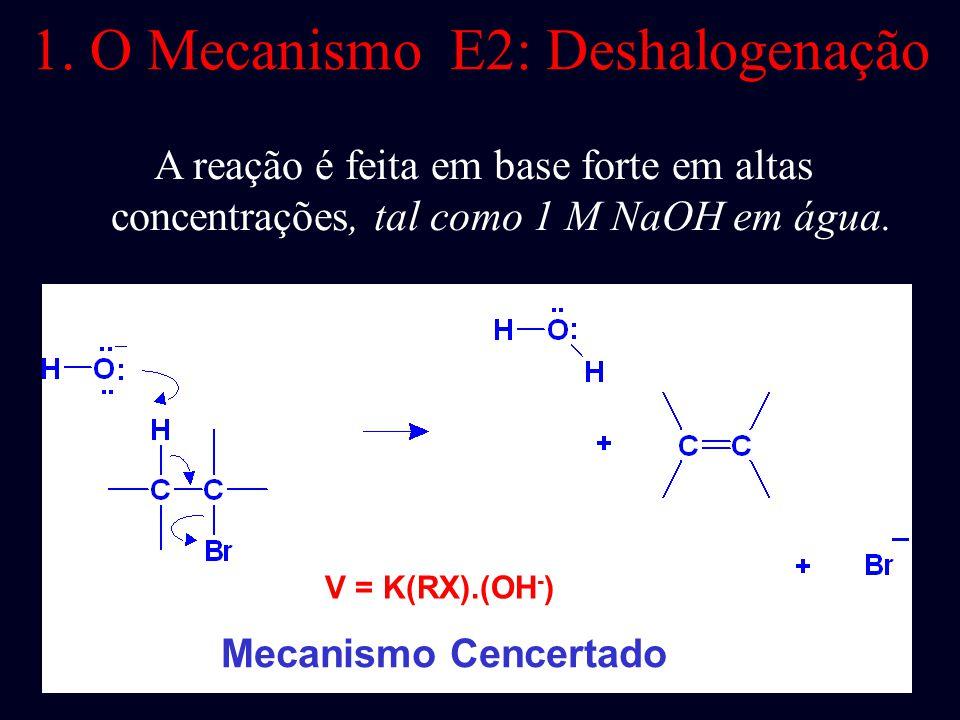 O Mecanismo E2 : 1. Mecanismo 2. Cinética 3. Efeito de isótopo 4. Estereoquímica dos Reagentes 5. Orientação da Eliminação (Zaitsev's rule) 6. Estereo
