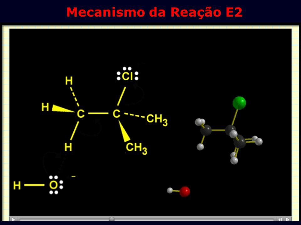 1. O Mecanismo E2: Deshalogenação A reação é feita em base forte em altas concentrações, tal como 1 M NaOH em água. Mecanismo Cencertado V = K(RX).(OH