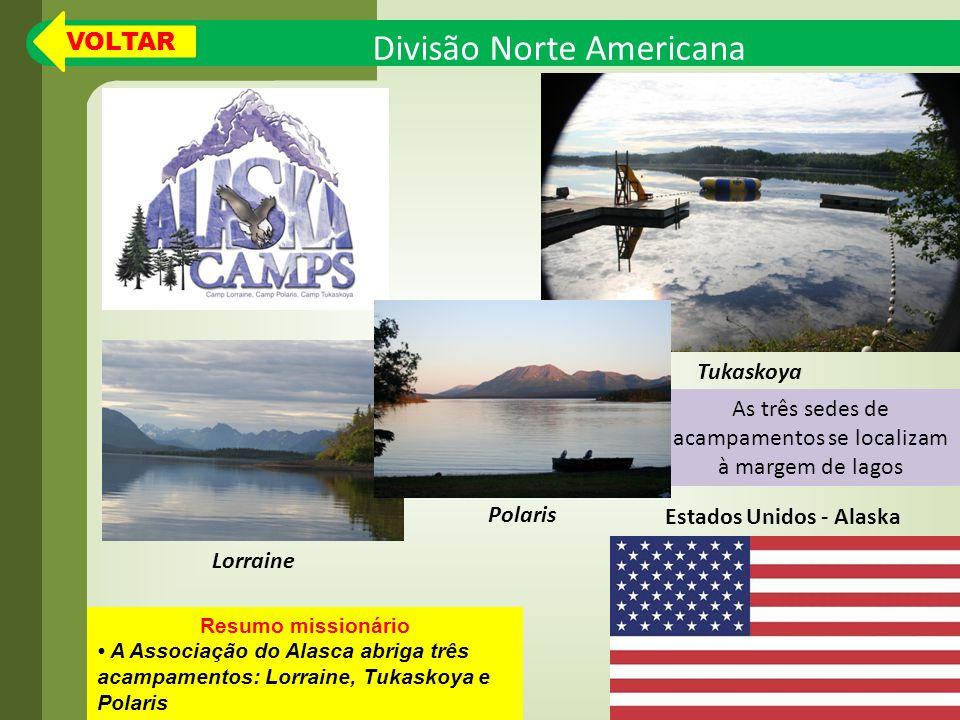 As três sedes de acampamentos se localizam à margem de lagos Divisão Norte Americana Resumo missionário A Associação do Alasca abriga três acampamentos: Lorraine, Tukaskoya e Polaris Estados Unidos - Alaska Tukaskoya Lorraine Polaris VOLTAR