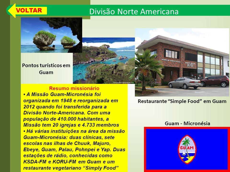 Divisão Norte Americana Resumo missionário A Missão Guam-Micronésia foi organizada em 1948 e reorganizada em 2012 quando foi transferida para a Divisão Norte-Americana.