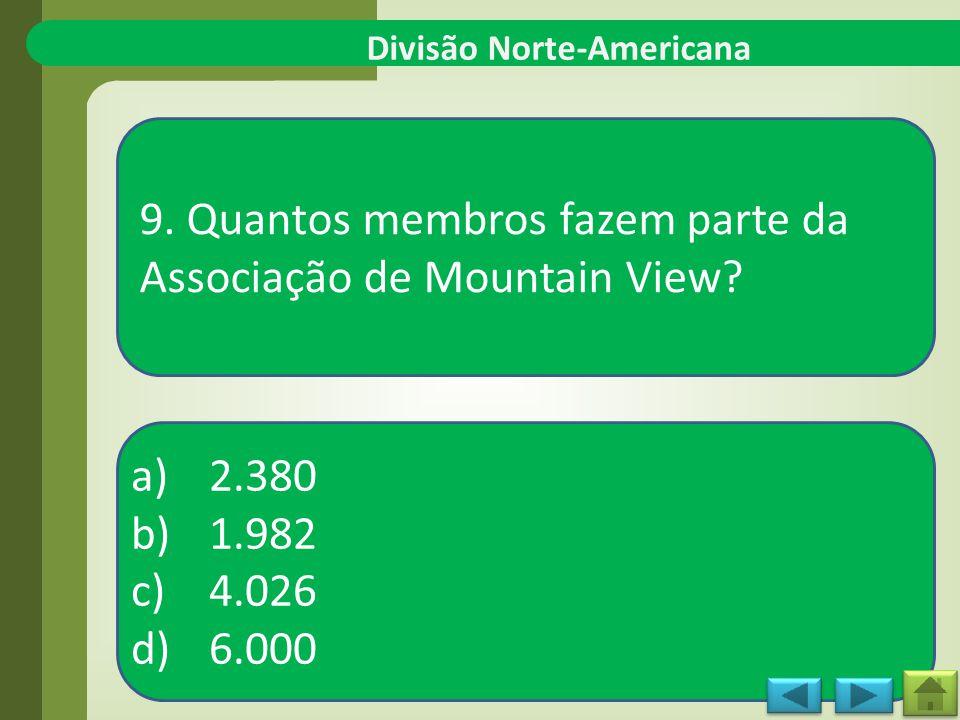 a)2.380 b)1.982 c)4.026 d)6.000 Divisão Norte-Americana 9.