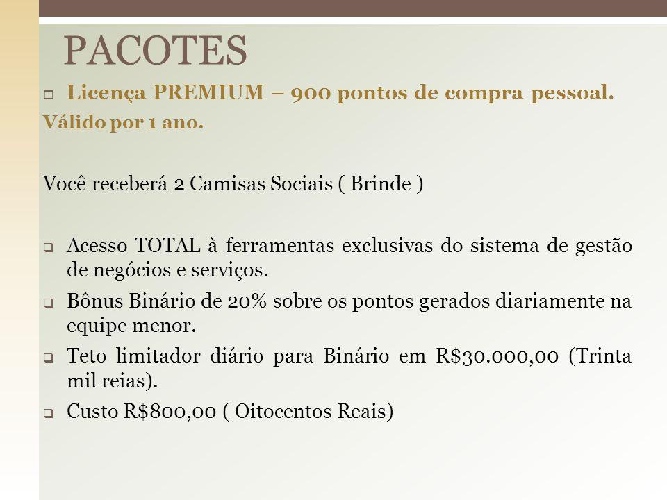  Licença PREMIUM – 900 pontos de compra pessoal. Válido por 1 ano. Você receberá 2 Camisas Sociais ( Brinde )  Acesso TOTAL à ferramentas exclusivas