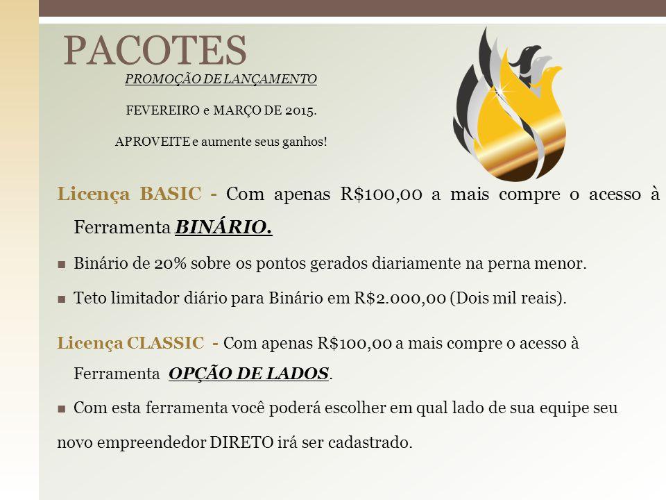 BINÁRIO Premium R$ 900,00 Premium 20%Binário 180,00 10% Comissão Venda Direta R$90,00 10% Comissão Venda Direta R$90,00 90,00 Venda Indireta R$ 0,00 Venda Indireta R$ 0,00 Binário 180,00 Binário 180,00 90,00 180,0 0 Diretos 180,0 0 360,0 0 Indiretos Premium 360,0 0 Premium TOTAL R$720,00