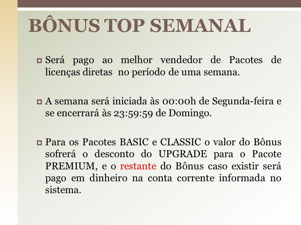 Requisitos para participar deste Bônus:  Possuir um Pacote Premium;  Estar com as mensalidades em dia até a segunda-feira anterior ao pagamento do Bônus;  Será pago toda quarta-feira.
