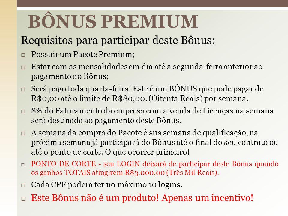  Todos os Empreendedores PREMIUM que já passaram pelo PONTO DE CORTE do Bônus Premium irão dividir 01% do faturamento bruto gerado pela empresa no período de 02/02/2015 até 14/12/2015.