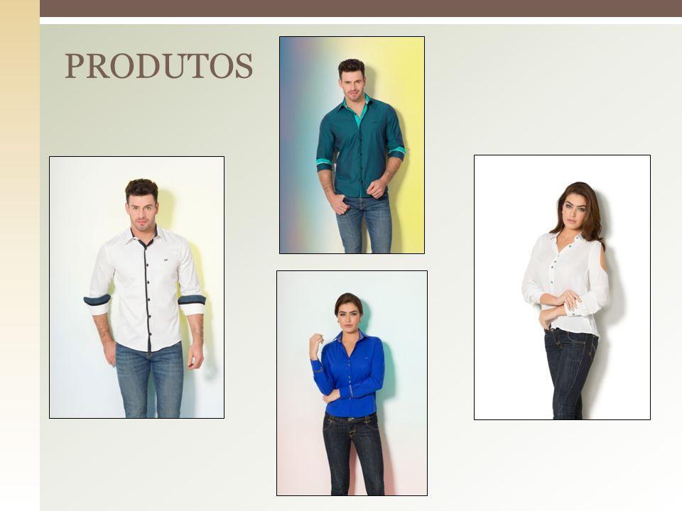  Camisas Sociais Masculinas (Já disponíveis)  Camisas Sociais Femininas ( Já disponíveis )  Linha Fitness ( Já disponíveis )  Linha Jeans ( Em breve )  Camisas Pólo ( Em breve )  Camisetas ( Em breve )  Acessórios em geral ( Em breve )  Calçados ( Em breve ).