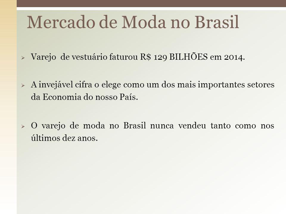  Varejo de vestuário faturou R$ 129 BILHÕES em 2014.  A invejável cifra o elege como um dos mais importantes setores da Economia do nosso País.  O
