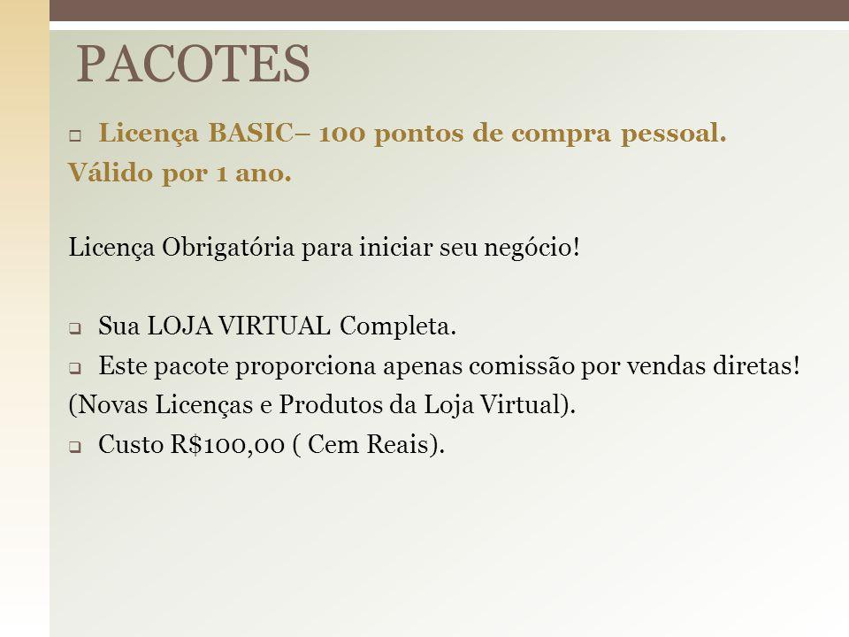  Licença BASIC– 100 pontos de compra pessoal. Válido por 1 ano. Licença Obrigatória para iniciar seu negócio!  Sua LOJA VIRTUAL Completa.  Este pac